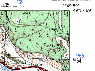 Reduced fragment of topographic map de--mb--025k--67_036-ams--(1954)--N049-18_E011-40--N049-12_E011-50