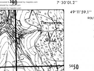 Reduced fragment of topographic map de--mb--025k--68_010-ams--(1952)--N049-12_E007-20--N049-06_E007-30