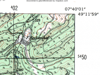Reduced fragment of topographic map de--mb--025k--68_011-ams--(1954)--N049-12_E007-30--N049-06_E007-40; towns and cities Pirmasens