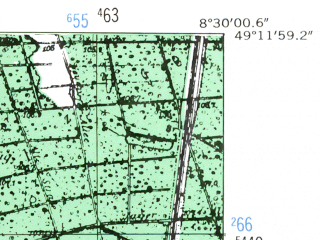 Reduced fragment of topographic map de--mb--025k--68_016-ams--(1953)--N049-12_E008-20--N049-06_E008-30