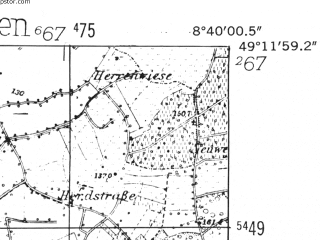 Reduced fragment of topographic map de--mb--025k--68_017-ams--(1952)--N049-12_E008-30--N049-06_E008-40; towns and cities Bruchsal