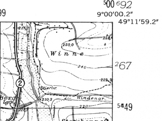 Reduced fragment of topographic map de--mb--025k--68_019-ams--(1953)--N049-12_E008-50--N049-06_E009-00