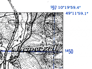 Reduced fragment of topographic map de--mb--025k--68_027-ams--(1952)--N049-12_E010-10--N049-06_E010-20