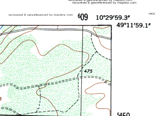 Reduced fragment of topographic map de--mb--025k--68_028-ams--(1953)--N049-12_E010-20--N049-06_E010-30
