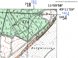 Reduced fragment of topographic map de--mb--025k--68_037-ams--(1954)--N049-12_E011-50--N049-06_E012-00