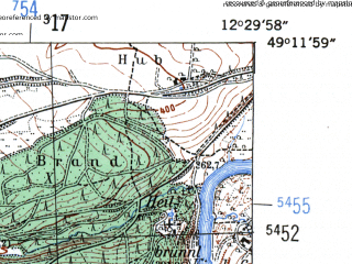 Reduced fragment of topographic map de--mb--025k--68_040-ams--(1954)--N049-12_E012-20--N049-06_E012-30