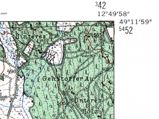 Reduced fragment of topographic map de--mb--025k--68_042-ams--(1954)--N049-12_E012-40--N049-06_E012-50