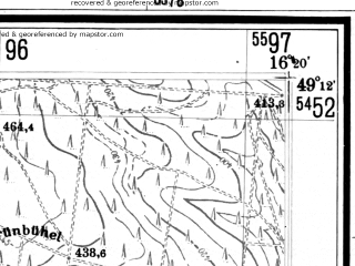Reduced fragment of topographic map de--mb--025k--68_063--(1943)--N049-12_E016-10--N049-06_E016-20