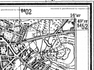 Reduced fragment of topographic map de--mb--025k--68_065--(1943)--N049-12_E016-30--N049-06_E016-40; towns and cities Brno