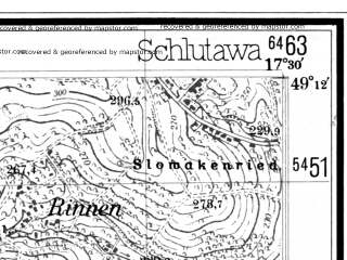 Reduced fragment of topographic map de--mb--025k--68_070--(1944)--N049-12_E017-20--N049-06_E017-30