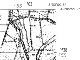 Reduced fragment of topographic map de--mb--025k--69_016-ams--(1953)--N049-06_E008-20--N049-00_E008-30; towns and cities Karlsruhe