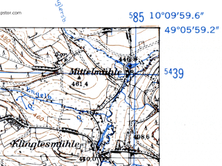 Reduced fragment of topographic map de--mb--025k--69_026-ams--(1952)--N049-06_E010-00--N049-00_E010-10
