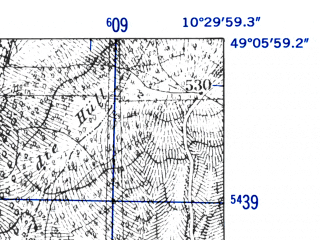 Reduced fragment of topographic map de--mb--025k--69_028-ams--(1952)--N049-06_E010-20--N049-00_E010-30