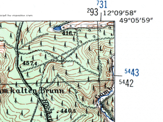 Reduced fragment of topographic map de--mb--025k--69_038-ams--(1954)--N049-06_E012-00--N049-00_E012-10; towns and cities Regensburg