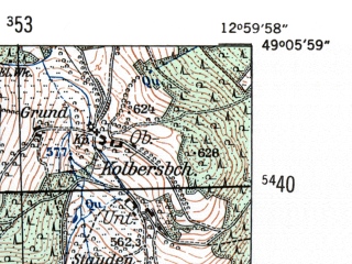 Reduced fragment of topographic map de--mb--025k--69_043-ams--(1954)--N049-06_E012-50--N049-00_E013-00