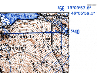Reduced fragment of topographic map de--mb--025k--69_044-ams--(1952)--N049-06_E013-00--N049-00_E013-10