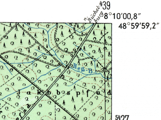 Reduced fragment of topographic map de--mb--025k--70_014-ams--(1954)--N049-00_E008-00--N048-54_E008-10