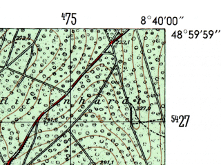 Reduced fragment of topographic map de--mb--025k--70_017-ams--(1954)--N049-00_E008-30--N048-54_E008-40