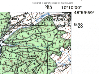 Reduced fragment of topographic map de--mb--025k--70_026-ams--(1954)--N049-00_E010-00--N048-54_E010-10; towns and cities Ellwangen