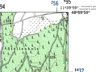Reduced fragment of topographic map de--mb--025k--70_035-ams--(1954)--N049-00_E011-30--N048-54_E011-40