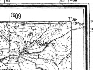 Reduced fragment of topographic map de--mb--025k--71_010--(1942)--N048-54_E007-20--N048-48_E007-30