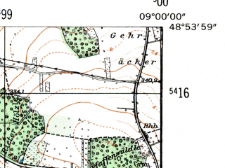 Reduced fragment of topographic map de--mb--025k--71_019-ams--(1954)--N048-54_E008-50--N048-48_E009-00