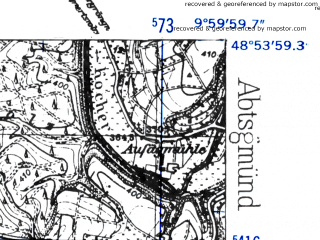 Reduced fragment of topographic map de--mb--025k--71_025-ams--(1952)--N048-54_E009-50--N048-48_E010-00