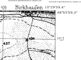 Reduced fragment of topographic map de--mb--025k--71_028-ams--(1952)--N048-54_E010-20--N048-48_E010-30; towns and cities Nordlingen