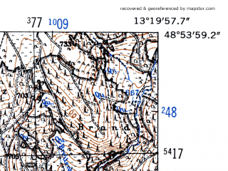 Reduced fragment of topographic map de--mb--025k--71_045-ams--(1952)--N048-54_E013-10--N048-48_E013-20