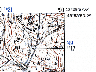 Reduced fragment of topographic map de--mb--025k--71_046-ams--(1952)--N048-54_E013-20--N048-48_E013-30