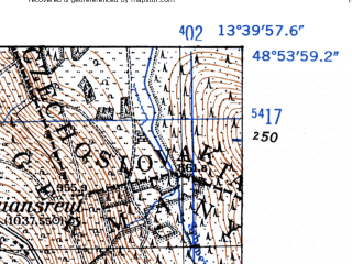 Reduced fragment of topographic map de--mb--025k--71_047-ams--(1952)--N048-54_E013-30--N048-48_E013-40