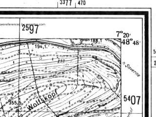 Reduced fragment of topographic map de--mb--025k--72_009--(1940)--N048-48_E007-10--N048-42_E007-20