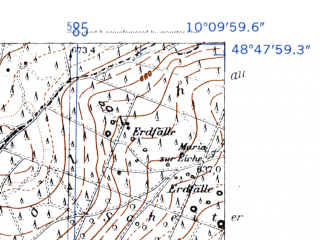 Reduced fragment of topographic map de--mb--025k--72_026-ams--(1952)--N048-48_E010-00--N048-42_E010-10