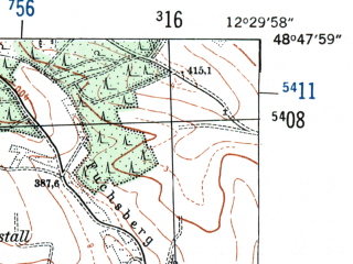 Reduced fragment of topographic map de--mb--025k--72_040-ams--(1954)--N048-48_E012-20--N048-42_E012-30