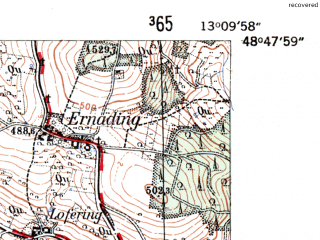 Reduced fragment of topographic map de--mb--025k--72_044-ams--(1954)--N048-48_E013-00--N048-42_E013-10