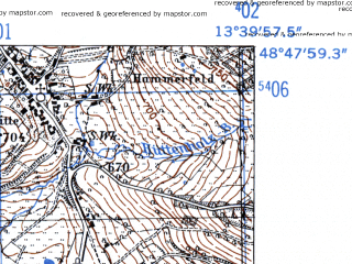 Reduced fragment of topographic map de--mb--025k--72_047-ams--(1952)--N048-48_E013-30--N048-42_E013-40