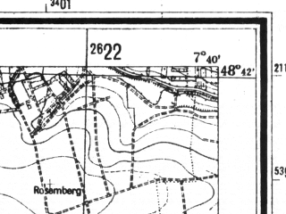 Reduced fragment of topographic map de--mb--025k--73_011--(1940)--N048-42_E007-30--N048-36_E007-40