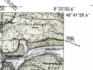Reduced fragment of topographic map de--mb--025k--73_015-ams--(1954)--N048-42_E008-10--N048-36_E008-20