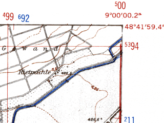 Reduced fragment of topographic map de--mb--025k--73_019-ams--(1952)--N048-42_E008-50--N048-36_E009-00