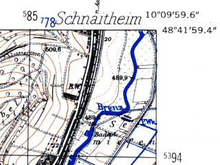 Reduced fragment of topographic map de--mb--025k--73_026-ams--(1952)--N048-42_E010-00--N048-36_E010-10; towns and cities Heidenheim