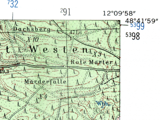 Reduced fragment of topographic map de--mb--025k--73_038-ams--(1954)--N048-42_E012-00--N048-36_E012-10