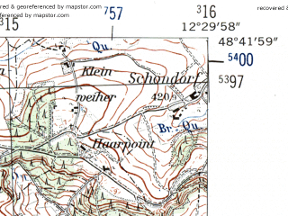 Reduced fragment of topographic map de--mb--025k--73_040-ams--(1954)--N048-42_E012-20--N048-36_E012-30