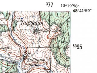 Reduced fragment of topographic map de--mb--025k--73_045-ams--(1954)--N048-42_E013-10--N048-36_E013-20; towns and cities Vilshofen