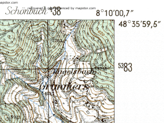 Reduced fragment of topographic map de--mb--025k--74_014-ams--(1954)--N048-36_E008-00--N048-30_E008-10
