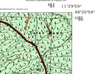 Reduced fragment of topographic map de--mb--025k--74_034-ams--(1954)--N048-36_E011-20--N048-30_E011-30