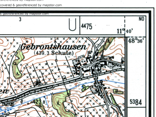 Reduced fragment of topographic map de--mb--025k--74_035--(1983)--N048-36_E011-30--N048-30_E011-40; towns and cities Pfaffenhofen