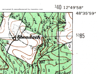 Reduced fragment of topographic map de--mb--025k--74_042-ams--(1954)--N048-36_E012-40--N048-30_E012-50