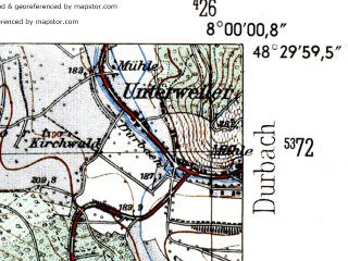Reduced fragment of topographic map de--mb--025k--75_013-ams--(1954)--N048-30_E007-50--N048-24_E008-00; towns and cities Offenburg