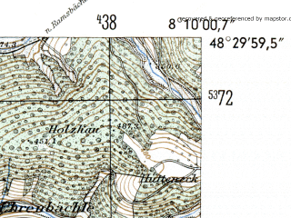 Reduced fragment of topographic map de--mb--025k--75_014-ams--(1954)--N048-30_E008-00--N048-24_E008-10