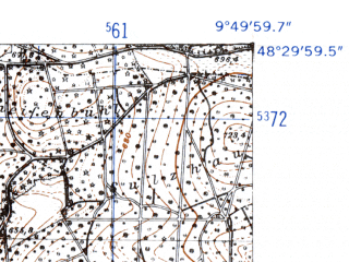 Reduced fragment of topographic map de--mb--025k--75_024-ams--(1952)--N048-30_E009-40--N048-24_E009-50